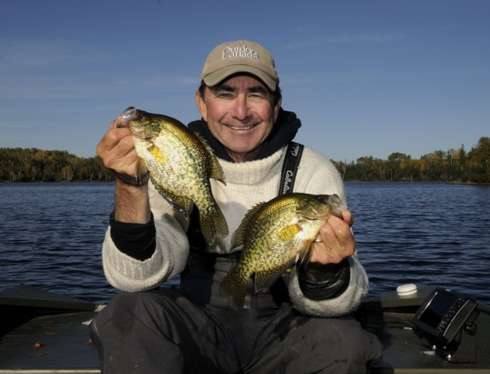 Gord Pyzer prefers the slight stretch that light monofilament line offers when he is fishing for crappies in the fall