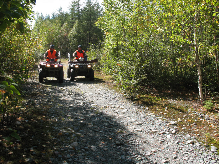 Two ATVs hit the Trails at Gowganda Lake Lodge