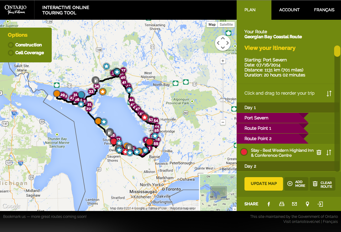 Screen shot Georgian Bay Coastal Route