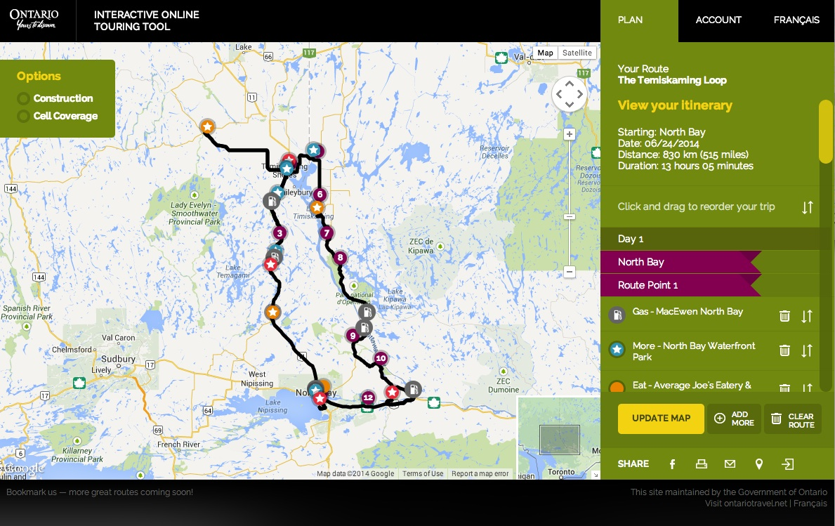Temiskaming Loop Go Tour Trip Planner Screenshot