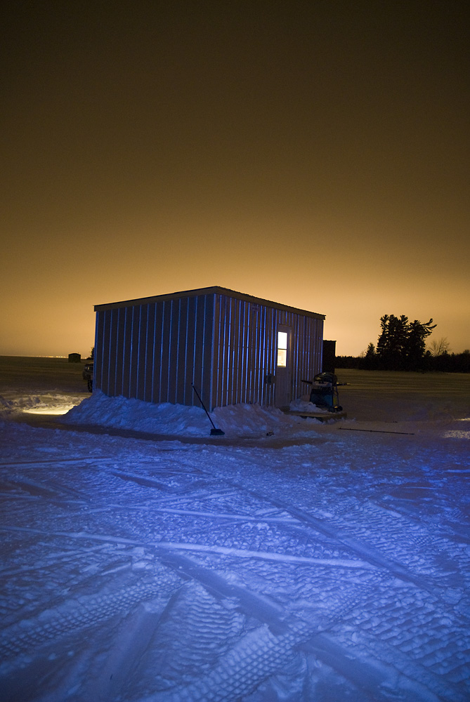A father daughter bonding experience overnight ice fishing for Ice fishing at night