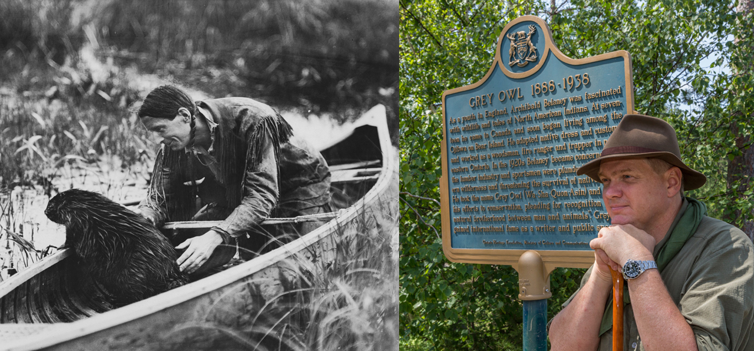 Grey Owl with a beaver in a canoe and Ray Mears at Grey Owl plaque