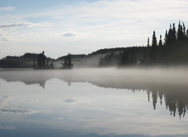 Mist rising from the waters at Big Hook Wilderness Camps