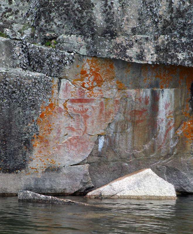 Petroglyphs can be found on many rock faces in Northwest Ontario