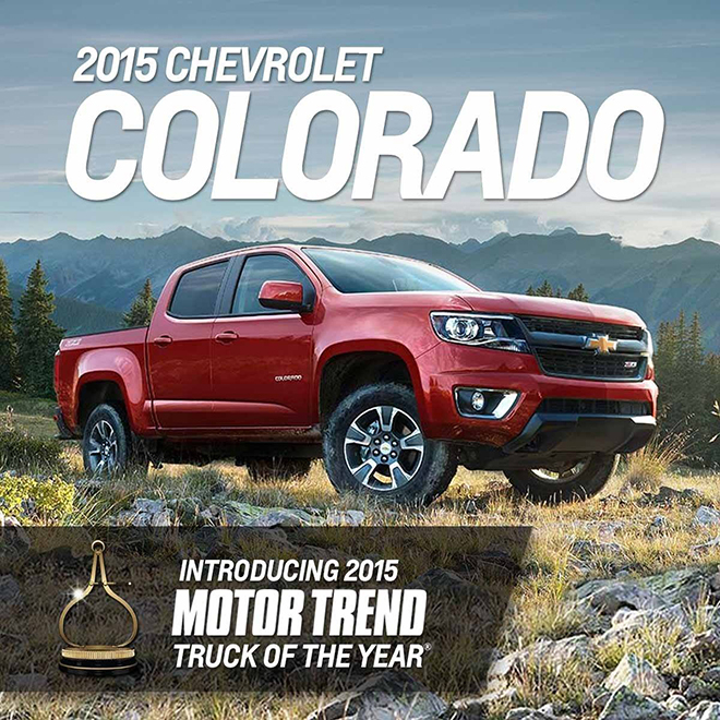 Motor Trend's 2015 truck of the Year, the Chevy Colorado available at Dryden GM