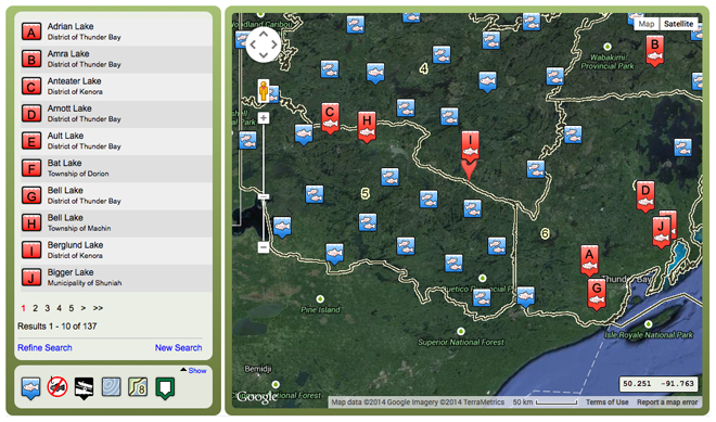 Search for lakes with brook trout within 300 kms of Ignace, Ontario