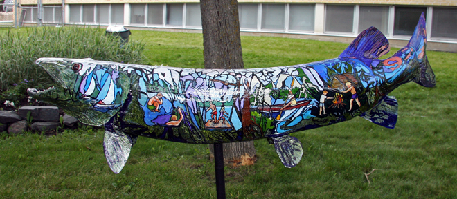 This muskie by Irene McCuaig depicts images of childhood in Kenora