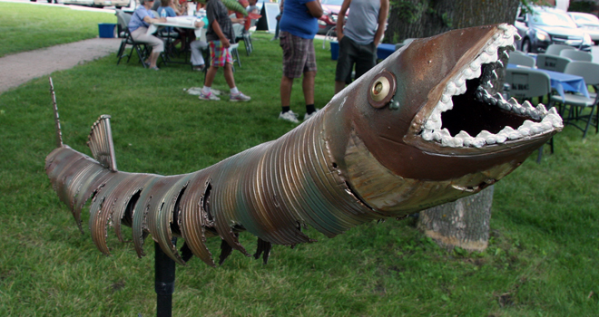 Marion McKay's unique muskie was made from recycled metal from the scrap yard