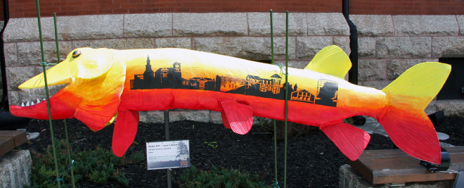 This massive muskie has many of Kenora's most recognizable buildings painted on it