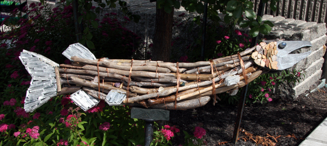Lisa and Mike from the Zen Den have used driftwood, stones, copper and crystals to form this stunning muskie