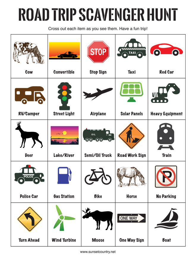 image regarding Road Trip Scavenger Hunt Printable named Highway Holiday vacation With Children Survival Specialist Northern Ontario Generate