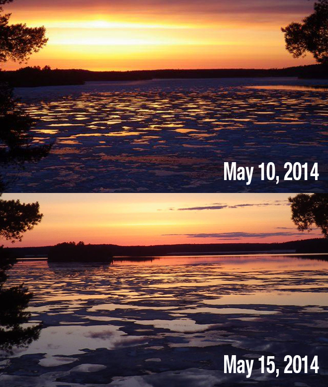 The difference in 5 days on Wabaskang Lake in Perrault Falls
