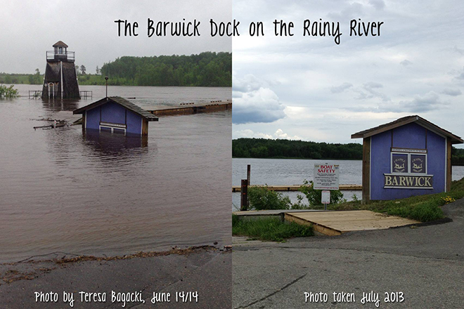 You can see just how high the water rose above normal on the Rainy River in Barwick