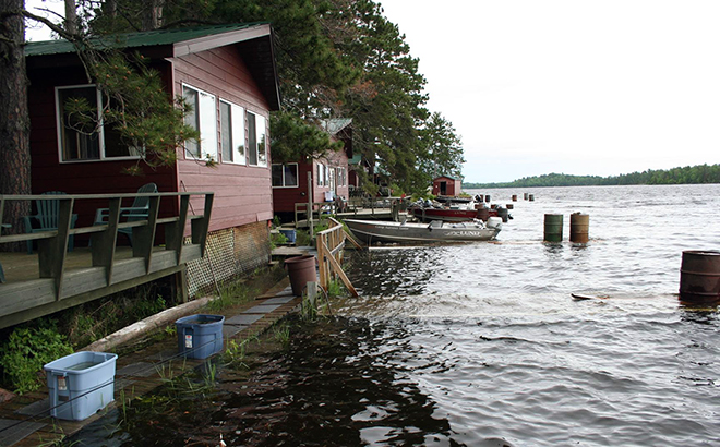 Camp Narrows Lodge on Rainy Lake mid June (the docks stayed under water for much of the year)