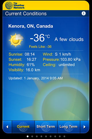 It was -36 in the morning of January 1, 2014