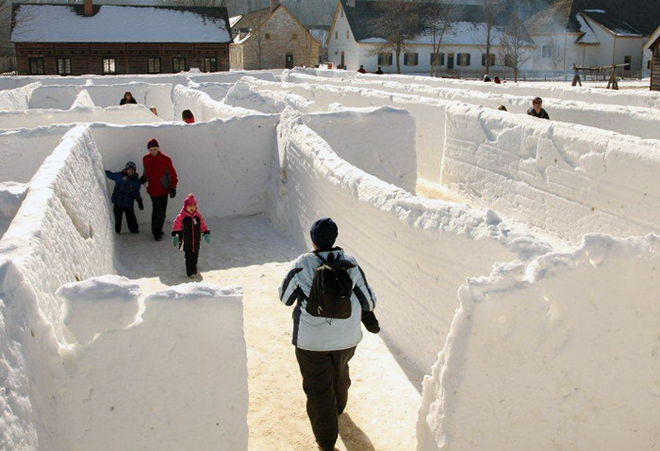 The snow maze at the Voyageur Winter Carnival at the FWHC