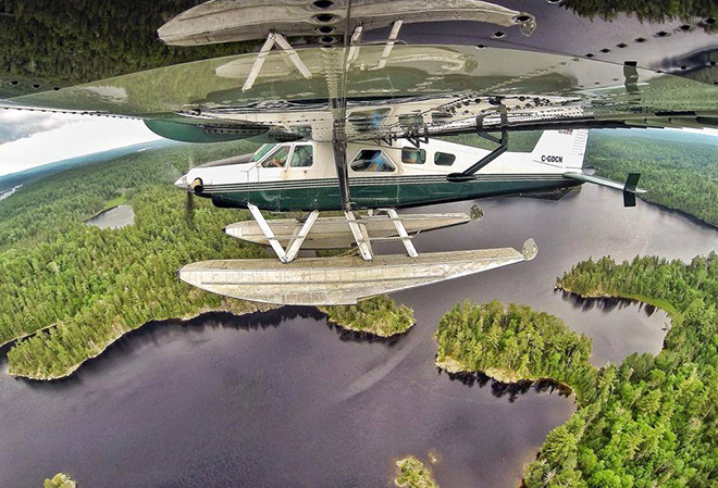 Flying over Northwest Ontario in a float plane