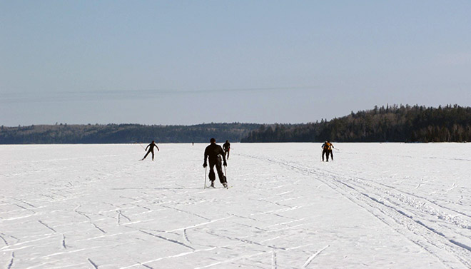 Ski over frozen lakes or down trails. Photo: Mike McKinnon, Atikokan Progress