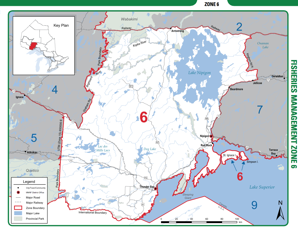 Nipigon is Northeast of Thunder Bay and is located in the MNR Zone 6
