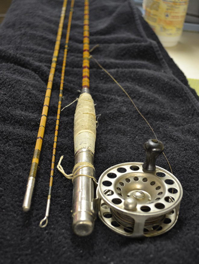 The actual rod that Dr Cook used to reel in the monster brook trout. Courtesy of the Nipigon Historical Museum