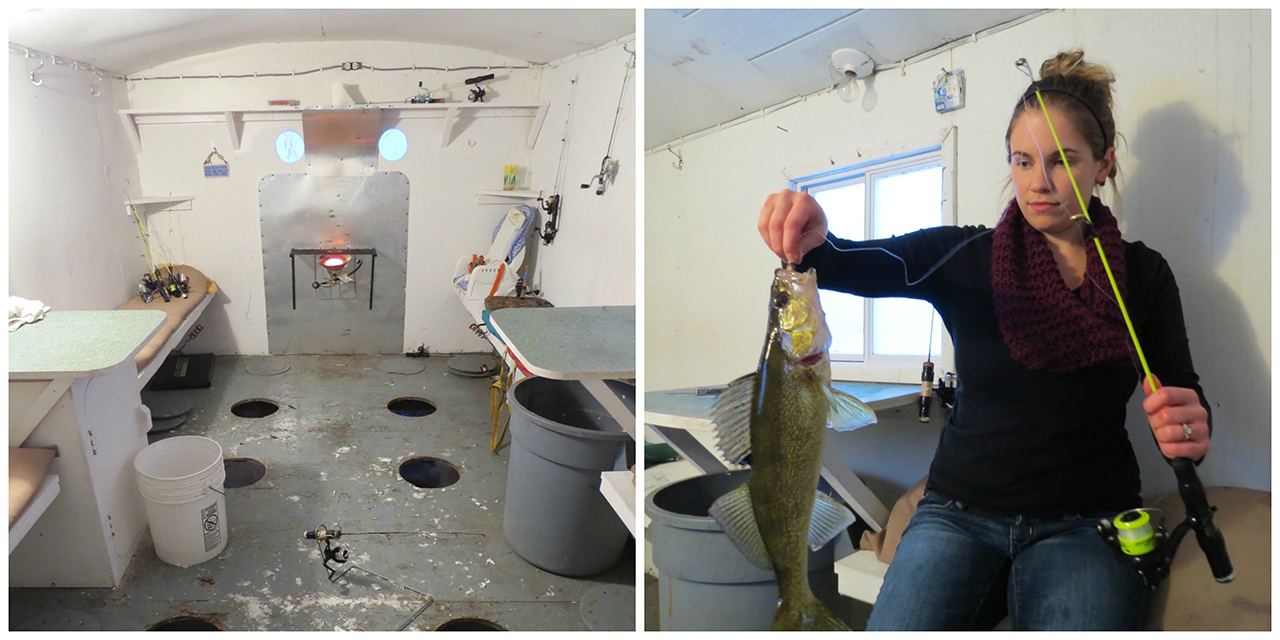 A beginners guide to ice fishing in canada with a few for Fish house interior designs
