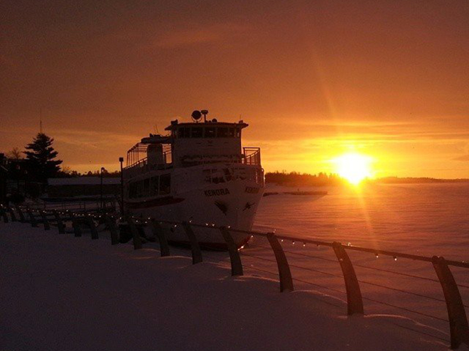 The MS Kenora sits frozen at the Kenora Harbourfront