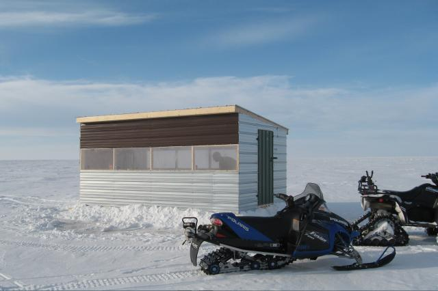 Rent an ice shack like this one available at Harris Hill Resort.