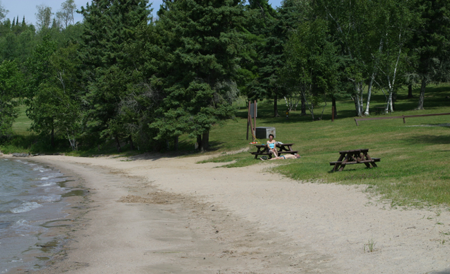 Great beach at Sioux Narrows Provincial Park
