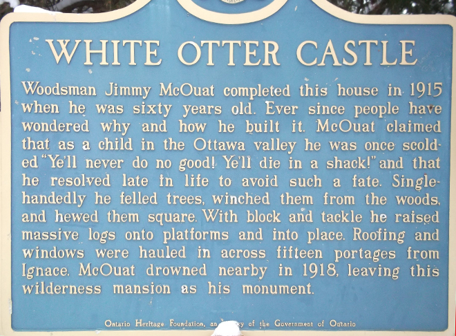 Historical Plaque at White Otter Castle Sign Candy