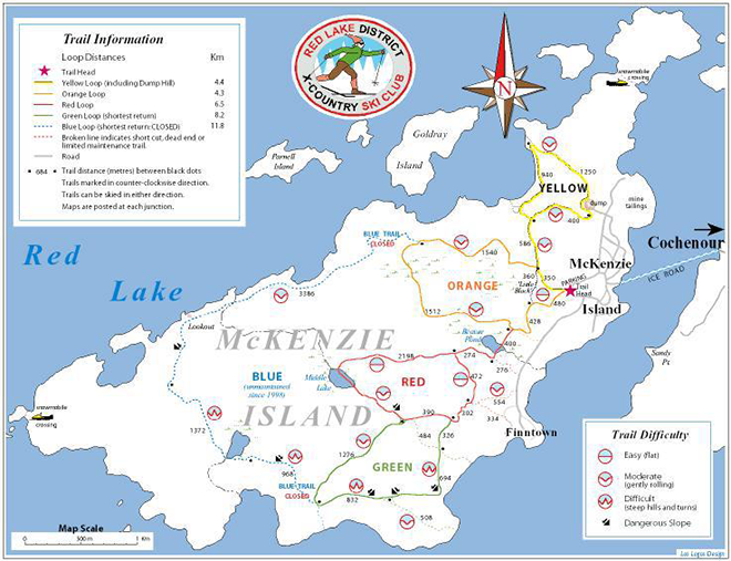 Cross Country Ski Trail Map on McKenzie Island in Red Lake