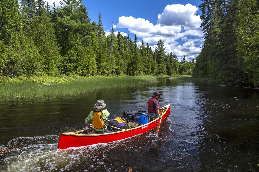 Two people paddling a red canoe.