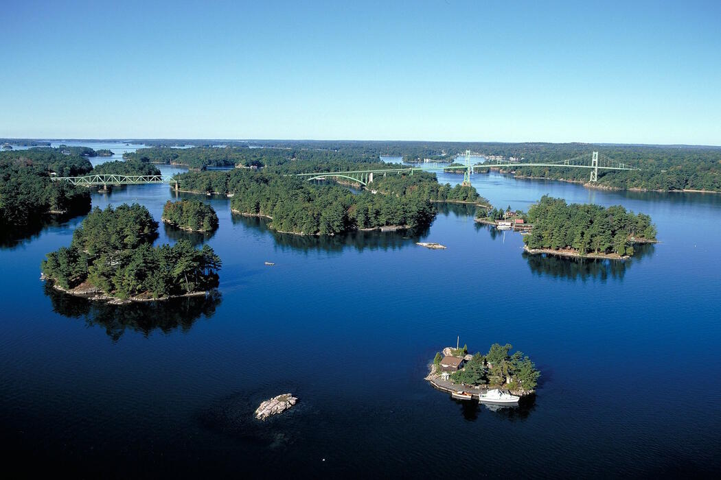 Aerial view of St. Lawrence River and its Thousand Islands.