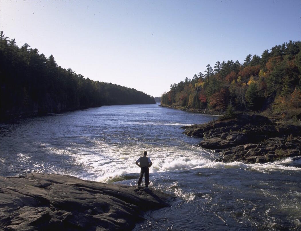 Man standing beside a waterfalls, looking down a river.
