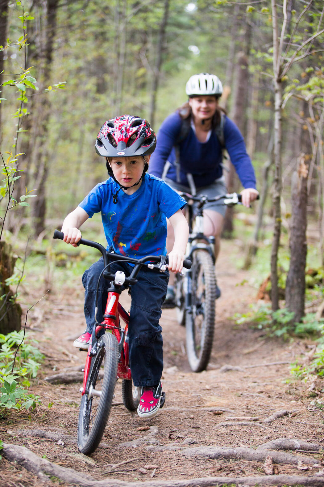 Young boy and a woman riding mountain bikes on a forest trail.