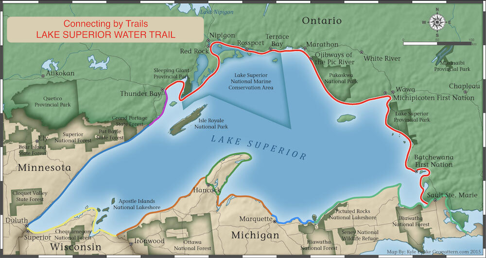 Map of Lake Superior Water Trail