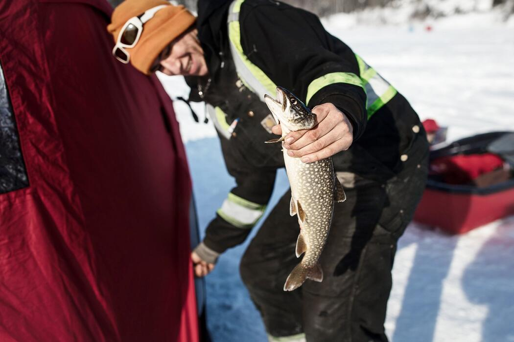 Woman holding a fish - ice fishing.