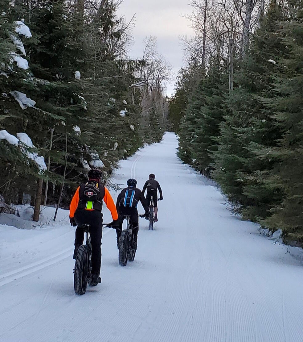 Three people riding fat bikes on a wide winter trail.