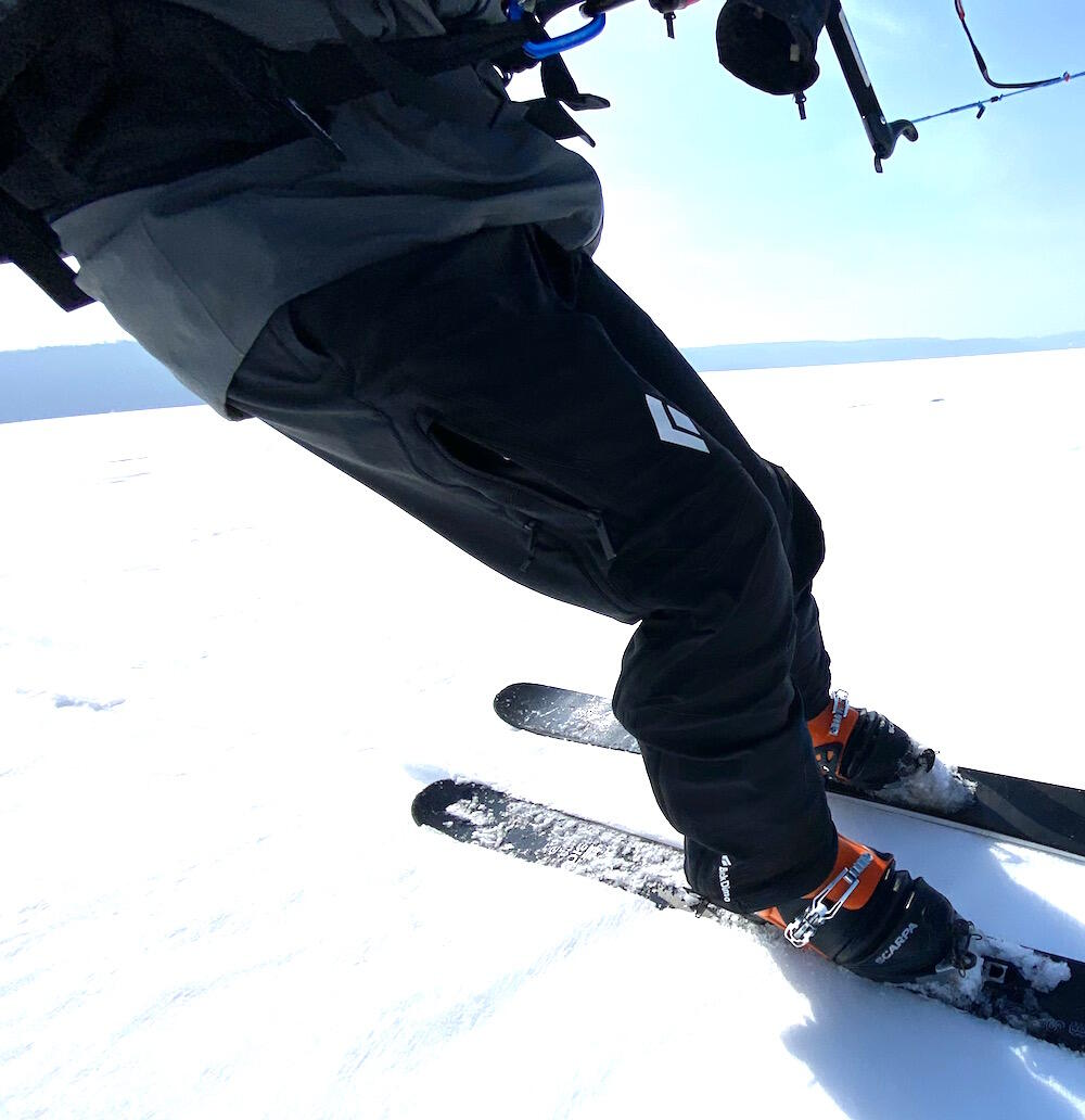 Close up of safety harness on a person snowkiting.