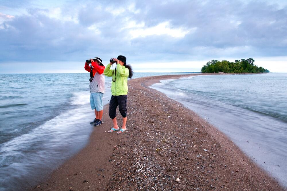 Two people with binoculars standing on narrow sand point