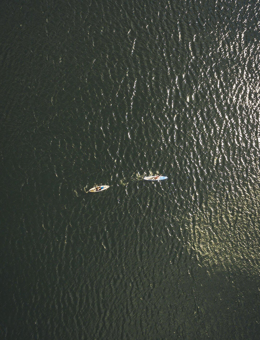 Aerial view of two SUP boarders on water