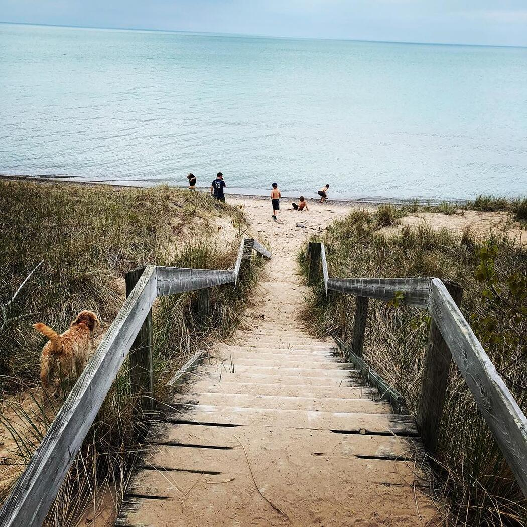 Wooden stairs leading down to a beach and water.
