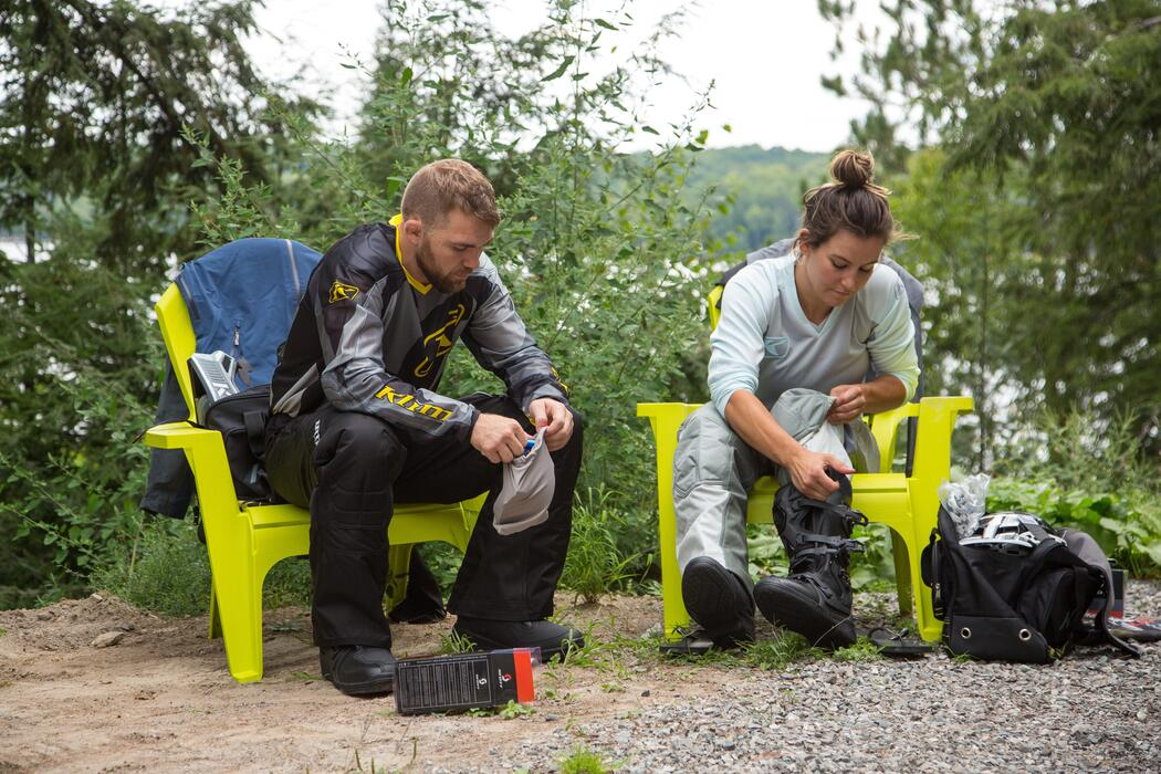 Bryan Caraway and Miesha Tate gearing up for the trails with Scott boots and Klim outfits