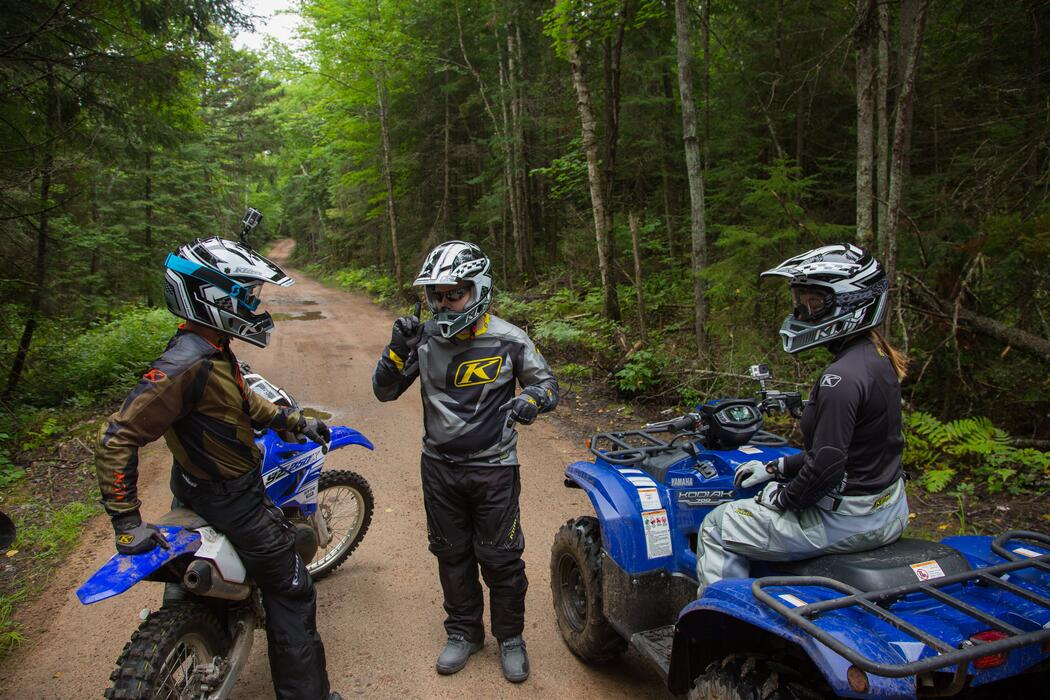 Miesha Tate and Bryan Caraway riding VMUTS Trails in Northern Ontario