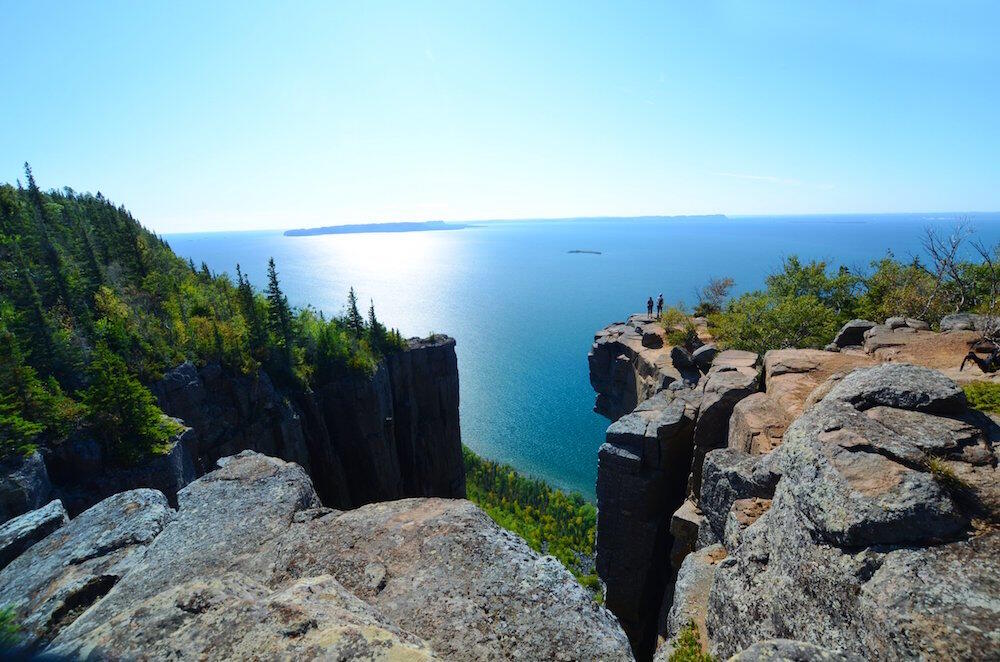 Vast view of Lake Superior from the top of the Sleeping Giant cliffs.