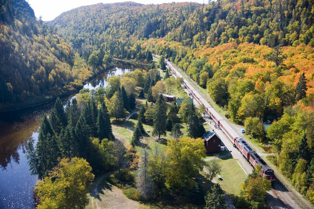 Aerial view in the fall of the train and tracks along a river.