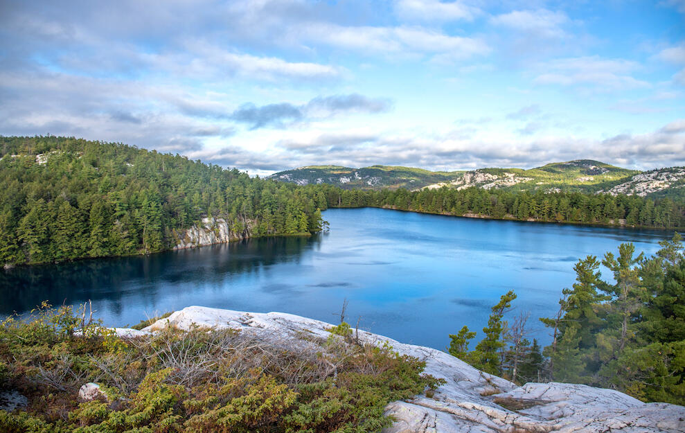 Stunning view of turquoise lake surrounded by white rock mountains and trees