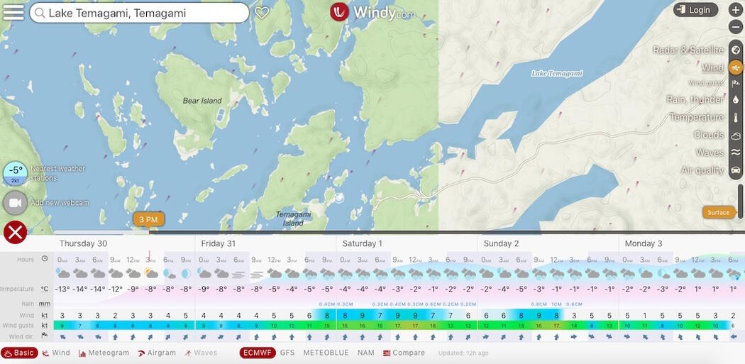 Screen capture of a map with weather forecasts across the bottom.