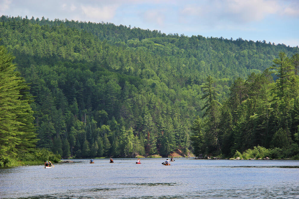 Many canoes in distance paddling on a river.