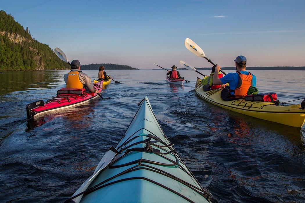 Group of kayakers on Lake Superior