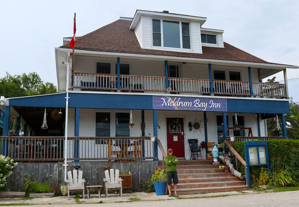 Front view of historical Meldrum Bay Inn